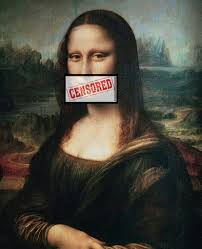 mona lisa with mouth taped censored
