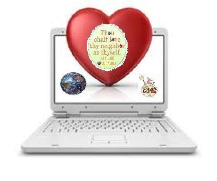 computer with heart in screen