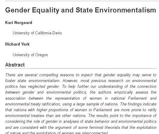 ~norgaard ~york gender ballance & env policy