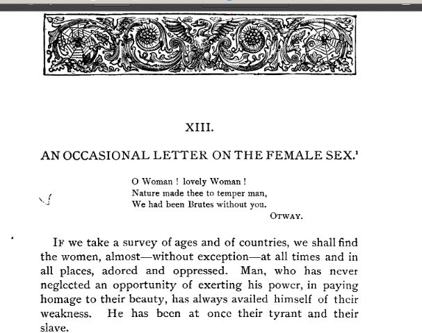 An occasional letter about the female sex