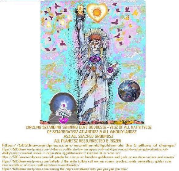 native american sztatue of liberty atlantusz riszen with dovesz